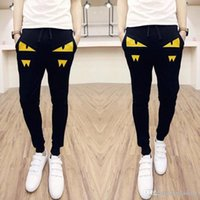 Wholesale Korean Style Harem Pants - Brand Men Pants New Little Monster Korean Style Casual Slim Fit Mens Joggers Pants Patchwork Men Harem Pants