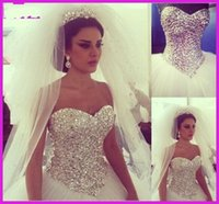 Wholesale Long Princess Sweetheart - 2015 New Design Princess Ball Gown Wedding Dresses Sweetheart Rhinestones Crystals Floor Length Tulle Long Bridal Gowns Custom Made 2016