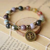 Wholesale indian tribal pendant - Exotic Copper Button Pendant Bracelets Natural Agate Beads Charm Bracelets Religious Indian Tribal Surfer nsl04