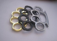 Wholesale 10PCS Silver Black and Gold Thin Steel Brass knuckle dusters Self Defense Personal Security Camping tool Pendant