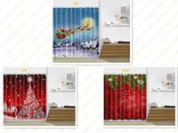 tipos de cortinas al por mayor-Nueva cortina de ducha de navidad 165 * 180 cm patrón de muñeco de nieve de santa claus cortina de ducha de baño para decoración de navidad top 10 tipos
