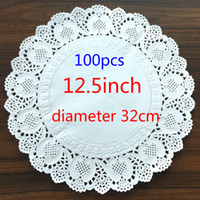 Wholesale Paper Lace Doilies - Wholesale- 12.5inch 320mm Vintage napkin Hollowed Lace Paper mat Crafts paper Doilies Wedding Decoration(100pcs bag)