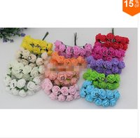 Wholesale Artificial Flowers Roses Mini - HOT Sale!!! 2.cm head Multicolor PE rose foam mini flower Bouquet solid color Scrapbooking artificial rose flowers(144pcs lot)
