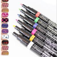 ferramentas para pintar arte venda por atacado-16 cores nail art pen para 3d nail art diy decoração unha polonês caneta set 3d design de unhas beleza ferramentas de pintura canetas qj