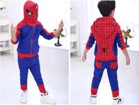 Wholesale Kids Piece Character Costumes - Retail Kids Boy Spider Man Hoodies Set Winter Clothing Boys spiderman suit hoodie pants two pieces Spiderman character Costumes ls-001