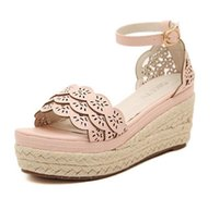 Wholesale Wedge Ankle Strap Platform Sandal - Lena ViVi Straw Woven Pink Lace Ankle Strap High Platform Wedge Sandals Women Shoes Wedding Shoes Size 35 To 39