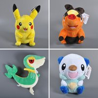 Wholesale Video Game Collectibles - Retail 4 styles 30cm Poke plush toy Pikachu Oshawott Snivy Tepig Cartoon stuffed collectibles dolls kids toys for christmas gifts 201510HX