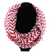 Wholesale Red Loop Scarf - New Design Wave Chevron Infinity Scarf Women's Chiffion Double Cricle Ring Scarf Loop Scarf 6 Colors Available, Free Shipping, SC0048