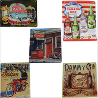 Wholesale Vintage Cafe Decor - 15X 10cm Vintage Metal Painting Retro Poster Tin car Plate Wall stickers cafe bar Decoration Home Decor Art Tin Sign
