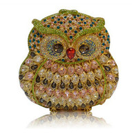 Wholesale Crystal Clutch Hard Bag - Free Drop Shipping New Hard Shell Red Diamond Crystal Clutch bag Unique Clasp Owl Design Women Evening Bag Party Clutch Purse