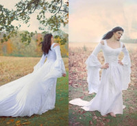 Wholesale Medieval Long Dresses - Fantasy Fairy Medieval Lace Up Wedding Gowns Custom Off Shoulder Bell Long Sleeves A Line Court Train White Chiffon and Lace Bridal Gowns