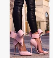 Wholesale Nice Dresses Pink - Hot Sale New Women Clothing Shoes Fashion Nice Large bowknot Nice Shoes Women Clothing Nice Fashion Casual Shoes V1430D