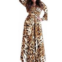 Wholesale Sexy Leopard Long Dress - Promotion 2016 European Style Sexy Women Leopard Dress Long Sleeve V Neck Chiffon Vestios Long Maxi Party Dress Plus Size S M LF