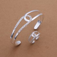 Wholesale High grade sterling silver Cross O Set jewelry sets DFMSS401 Factory direct sale wedding silver bracelet ring