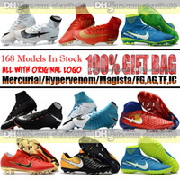 Wholesale Color Navy Blue Heels Shoes - High Top Men Mercurial Superfly CR7 V FG AG Neymar JR Football Boots Ronaldo Magista Obra II ACC Soccer Shoes IC TF Hypervenom Soccer Cleats