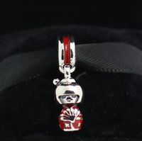 Wholesale Dolls Glasses - 925 Sterling Silver Japanese Doll Dangle Charm Bead with Red Enamel Fits European Pandora Jewelry Bracelets & Necklaces