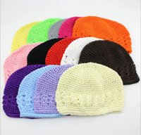 Wholesale Knit Hats For Infant Girls - New 14 colors handmade infant baby hat solid Croched Hats Knitting hat for kids children warm hat winter hats for baby Independent packing