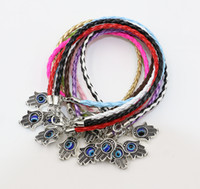 Wholesale Charm Jewish - 40pcs Bright Mix Color Hamsa Hand of God Fatima Jewish Judaica Kabbalah Evil Eye Charm Leather Bracelet