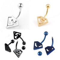 Wholesale Bat Rings - Fashion Bat Punk Stainless Steel Belly Navel Ring Piercing Jewelry 4 Colors Drop Shipping