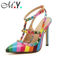 Wholesale Sexy Colorful Wedges - plus size 41 Women Rainbow High heels shoes woman Ladies Sexy Pointed Toe Colorful High Heels Buckle Studded Stilett Shoes pumps