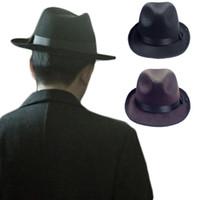 Wholesale Black Felt Cloche - S5Q Unisex Hip-Hop Cowboy Cap Men's Vintage Felt Fedora Hats Women's Jazz Trilby AAAECG