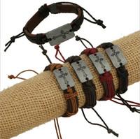 brazalete de infinitos mixtos al por mayor-Pulseras de los encantos de la manera hechos a mano Infinity 4 Color Cross Pattern Mix Venta de cuero Pulseras para hombres de la joyería