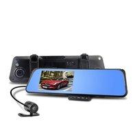 "Wholesale High Quality Sd Dvr - High quality 4.3"" LCD Bule Screen HD1080P V180 AV-OUT one Camera Rearview Mirror Viedo Recorder Car DVR Blackbox G-Senser v180 010227"