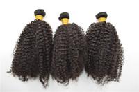 ingrosso sbiancamento tessuto nero-Capelli crespi crespi Weave 6 pz lotto naturale nero arricciatura trame dei capelli con nodi candeggiati vergine brasiliana dei capelli umani G-EASY spedizione gratuita