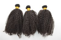 Wholesale black hair perm curly online - Kinky Curly Hair Weave natural black curl hair wefts with bleached knots brazilian virgin human hair G EASY