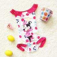 Wholesale Swimsuits For Baby Cartoons - 2016 Swim Wear for Kids Cartoon Swimsuit Baby Girl Swimming Costumes Micky Girls Bathing Suit Children Swimwear Kids Beachwear for 1-8 Years