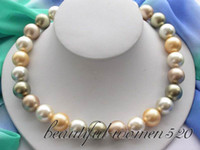 "Wholesale South Sea Pearls Strands Round - New fine pearl jewelry 18"" 14mm round multicolor south sea shell pearls necklace"