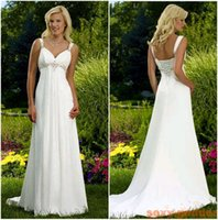 Wholesale Cheap Sheath Chiffon Wedding Dress - Stock cheap Sexy Beach Wedding Dresses Spaghetti beaded Chiffon Empire long Bohemian country style Bridal Gowns