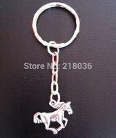 Wholesale Bone Horse - 50pcs Vintage Silver Horse Pendants Key Chains Key Rings Car Bag Charms Accessories Findings Wholesale Fashion Jewelry P48