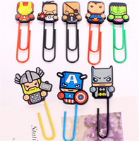 Wholesale Silicone Bookmark - The Avengers Style Paper Clips Silicone Captain America Iron Man Hulk Bookmarks Cartoon PVC Bookmark Office School Style Supplies K1151