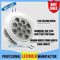 Wholesale Downlight 36w - Look !DHL ship high power Led ceiling lamp Dimmable 9W 12W 15W 21W 27W 36W Led Bulb 110-240V LED lighting led lights downlight with drive