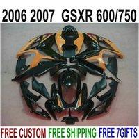 Wholesale Suzuki Gsxr Fairing Orange K6 - Customize body kits for SUZUKI GSX-R600 GSX-R750 2006 2007 K6 orange black fairing kit GSXR 600 750 06 07 fairings NS43