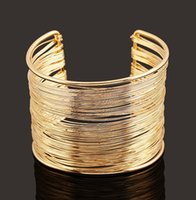 pulseras anchas grandes de oro pulseras al por mayor-2015 Nueva Moda Nueva Multilayer Punk Cuff Bracelets Bangle Rock Star Trendy Wide Big Gold Bangles NZ