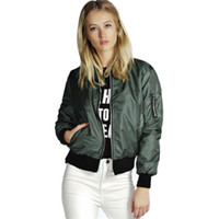 Wholesale Basic Top Women Sleeve - 2017 Spring Autumn Women Thin Jackets Tops Basic Bomber Jacket Long Sleeve Coat Casual Stand Collar Slim Fit Outerwear
