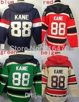 Wholesale Usa Olympics Hoodies - 2015 cheap New Red # 88 Patrick Kane Hoodies Sweatshirts Green Hockey Olympic Patrick Kane USA Hoodies Jersey
