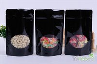 Wholesale Hot x21cm Black color Aluminum Foil Bag with Window Stand up Ziplock Food Bags TEA NUT COFFEE BEAN PACKING BAGS