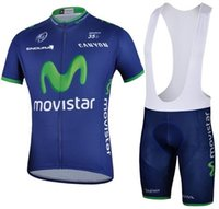 Wholesale Movistar Cycling Team - Wholesale-2015 Movistar team Cycling jerseys bib shorts set gel pad bicycle clothing Anti-sweat Quick Dry maillot ciclismo free shipping