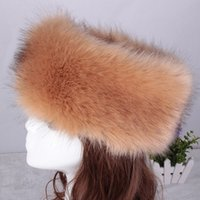 Wholesale Caps Fake Hair - Wholesale-Winter cap women 2015 new winter fake fur caps circle hair band head 11 colors available