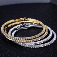 Wholesale Crystal Earrings Single - Wholesale- Gold Silver 70mm Single Row Basketball Wives Crystal Rhinestone Hoop Earrings Free Shipping