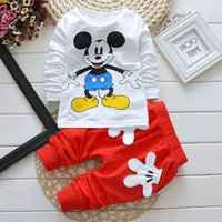 Wholesale Kids Clothes High Quality Boys - baby clothes special kids clothes long sleeve unisex girls favorite Mickey baby clothes soft casual boy clothes four colors,high quality