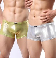 Wholesale Shiny gold and silver Leather swimming sports trunks bar stage performance clothing NK15