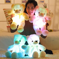 Wholesale Glow Toys Led Light - 30cm 50cm Colorful Glowing Teddy Bear Luminous Plush Toys Kawaii Light Up LED Teddy Bear Stuffed Doll Kids Christmas Toys CCA8079 100pcs