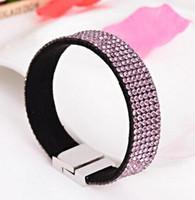 Wholesale Holiday Tennis - Fashion Crystal Slake Velvet Bracelet With Magnetic Clasp Leather Rhinestone Wrap Bracelet 12pcs lot, free shipping