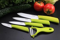 "Wholesale Green Ceramic Knife - tingting Ceramic fruit Knife Set Kit Chef's Knives 3"" 4"" 5"" 6"" inch + Peeler Black Red Pink Green Handle Free shipping"