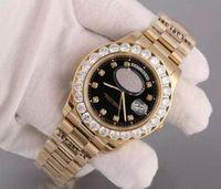 Wholesale Auto Data - di lusso AAA orologi Osservare con Diamond Bezel Super N Presidente Giorno Data 18K uomo Gold Quadrante e Diamante indici wristwatc