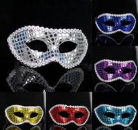 tecido de dança de lantejoulas venda por atacado-Lantejoulas planas tecido de máscara de flor homens e mulheres dança máscara do partido Masquerade máscara 0699